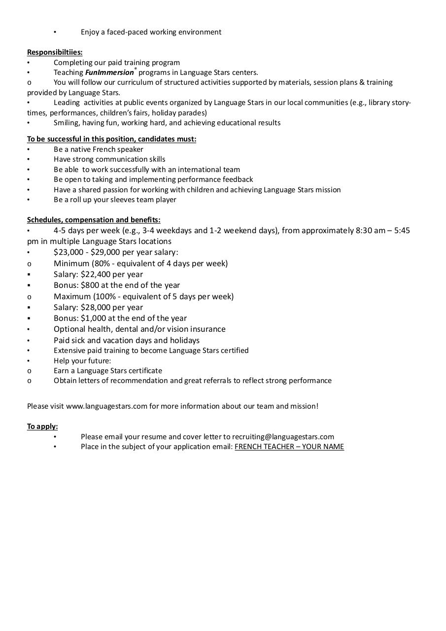 cover letter in french for teacher French teacher cover letter – cover letter french teacher wouldn't it be good if you discover an example of a resume that had everything you've done in your .