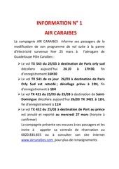 info passagers air caraibes ptp 26 03 13