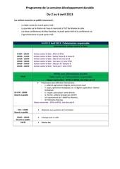 presse programme de la semaine developpement durable