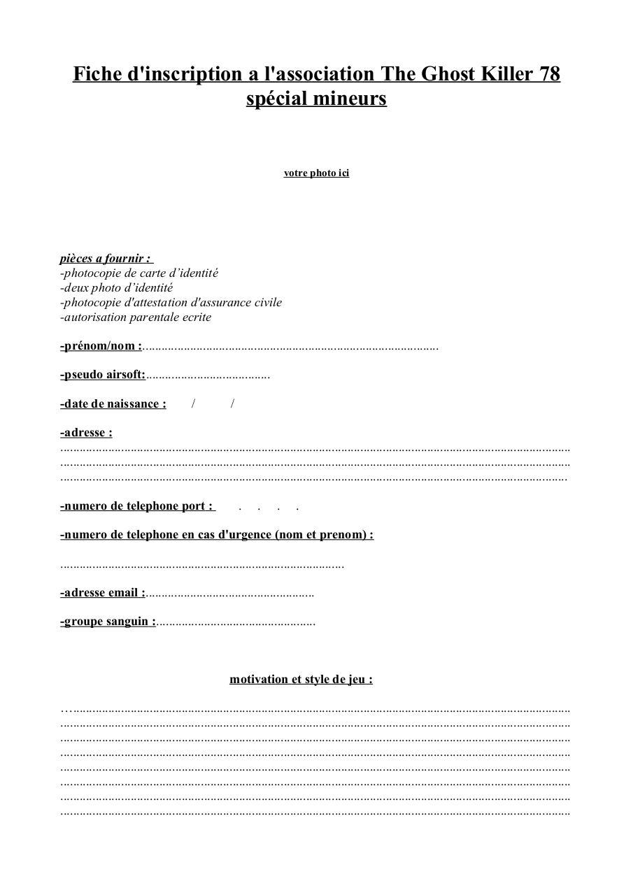 Fiche inscription mineur fichier pdf for Reglement interieur association pdf
