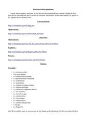 liste des articles possiblent a faire