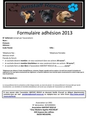 formulaire adhesion 2013