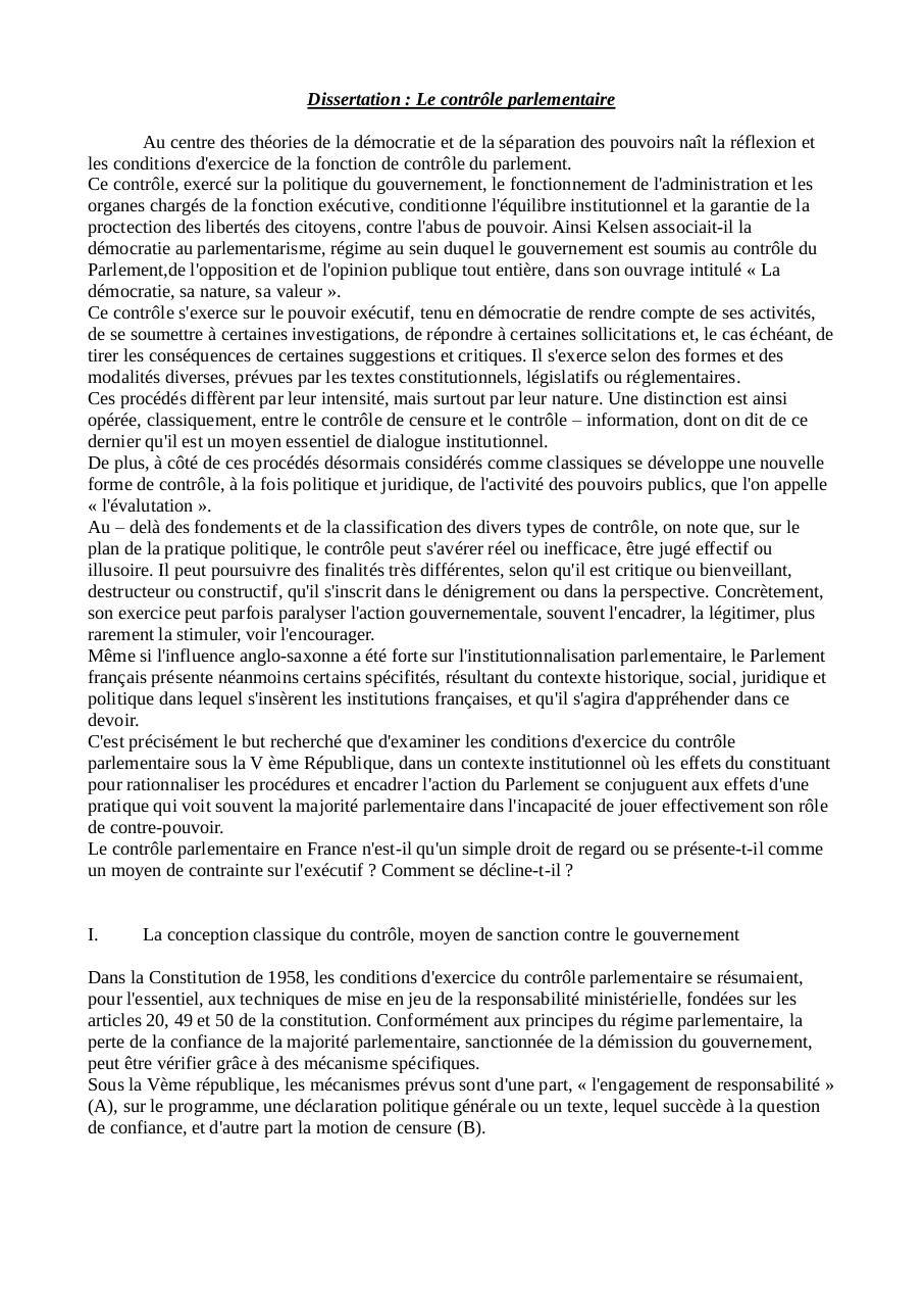 Dissertation sur les rgimes parlementaires