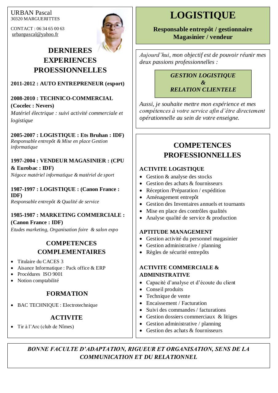 cv logistique pdf par pascal
