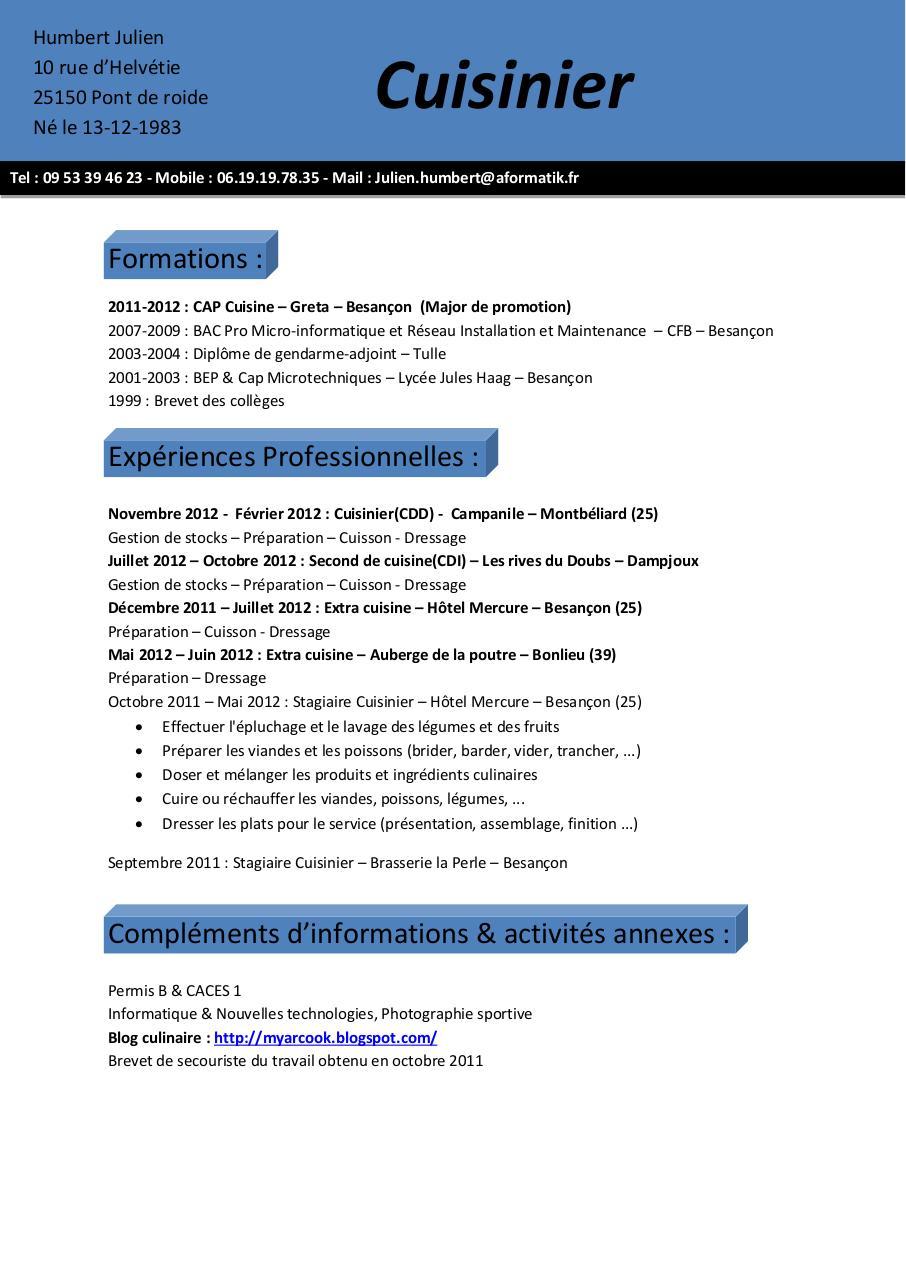 Cv julien humbert par stagiaire9 fichier pdf for Emploi cuisinier