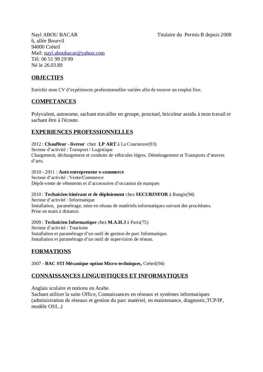 exemple de cv gestion administration NAYL ABOU BACAR CV par abou bacar   Fichier PDF exemple de cv gestion administration