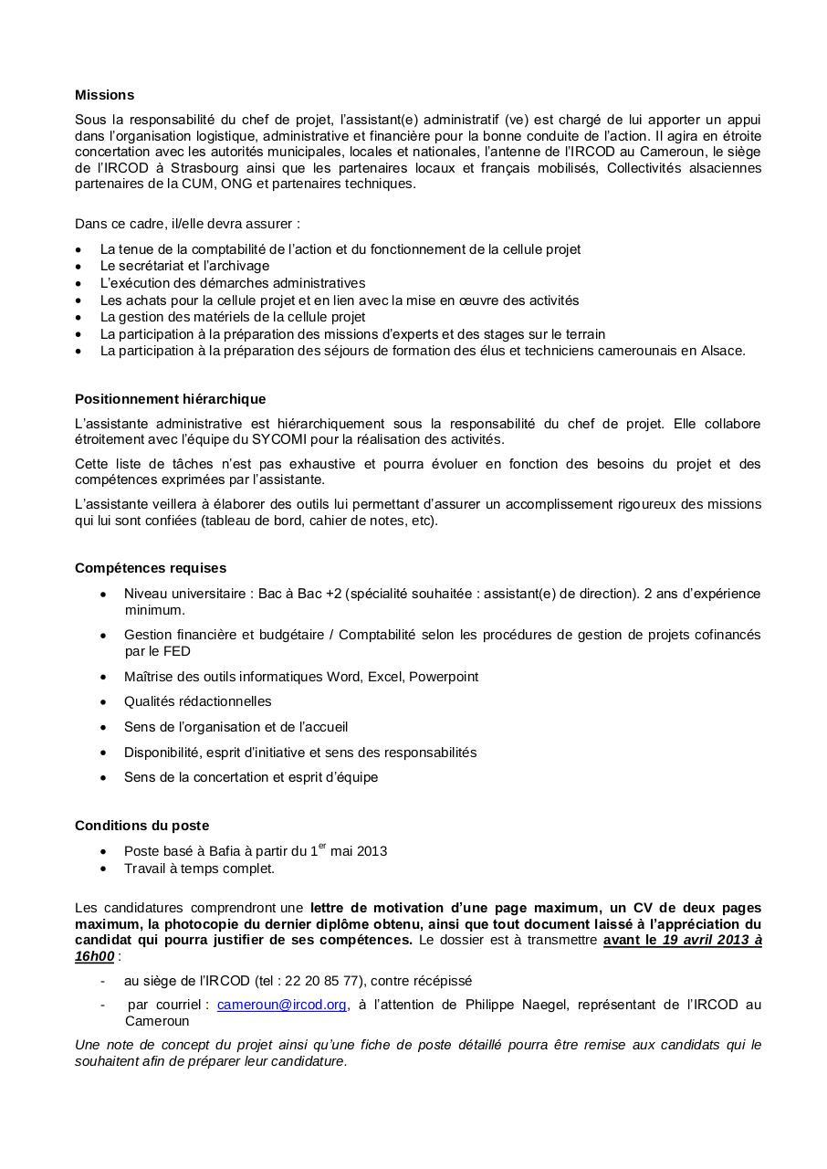 assistante administrative spiico 1 par ircod cameroun