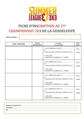 fiche d inscription 3x3