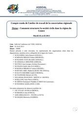 cr atelier de travail de la concertation regionale des osc du centre 16 avril 2013