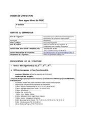 projet fair de pasc dossier de candidature