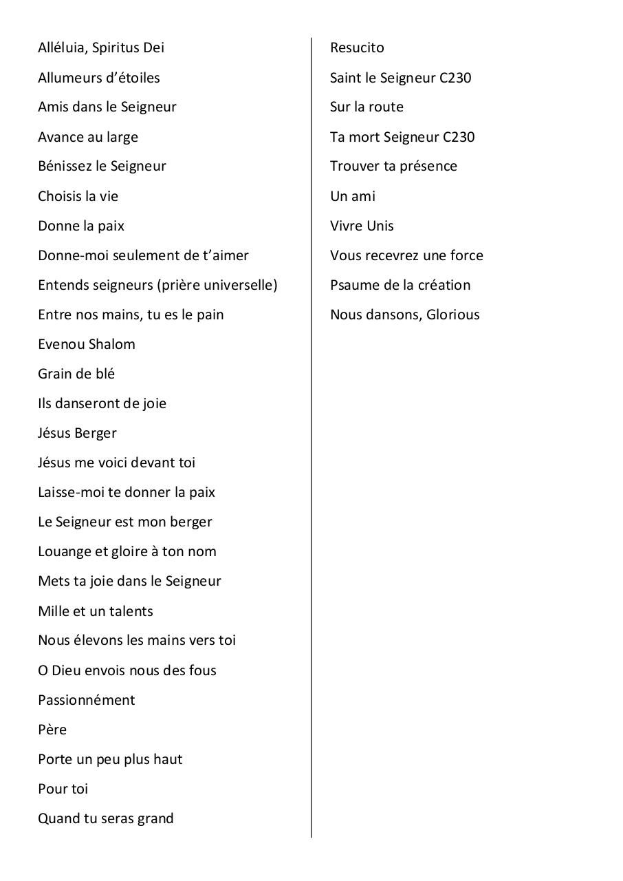 Aperçu du document listes des chants paroliers.pdf - page 1/1