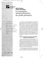 la consultation neuropsychomotrice des grands prematures