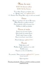 menu du mois de mai 2013