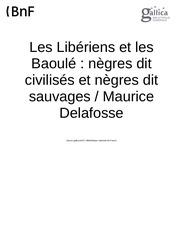 les liberiens et les baoule negres dit civilises et negres dit sauvages