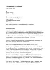 lettre au president de la republique