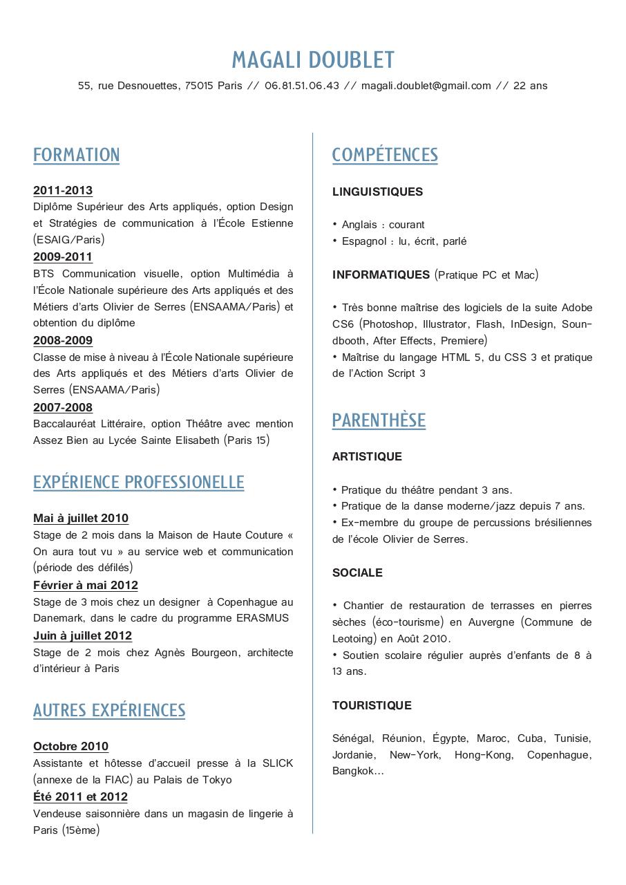 cv magali doublet  cv magali doublet pdf