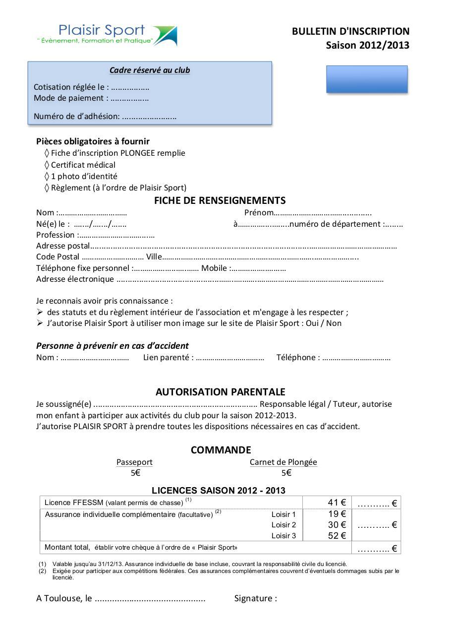 Bulletin adh sion plaisir sport par k vin da for Reglement interieur association pdf