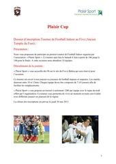 dossier d inscription plaisir cup 28 04 13