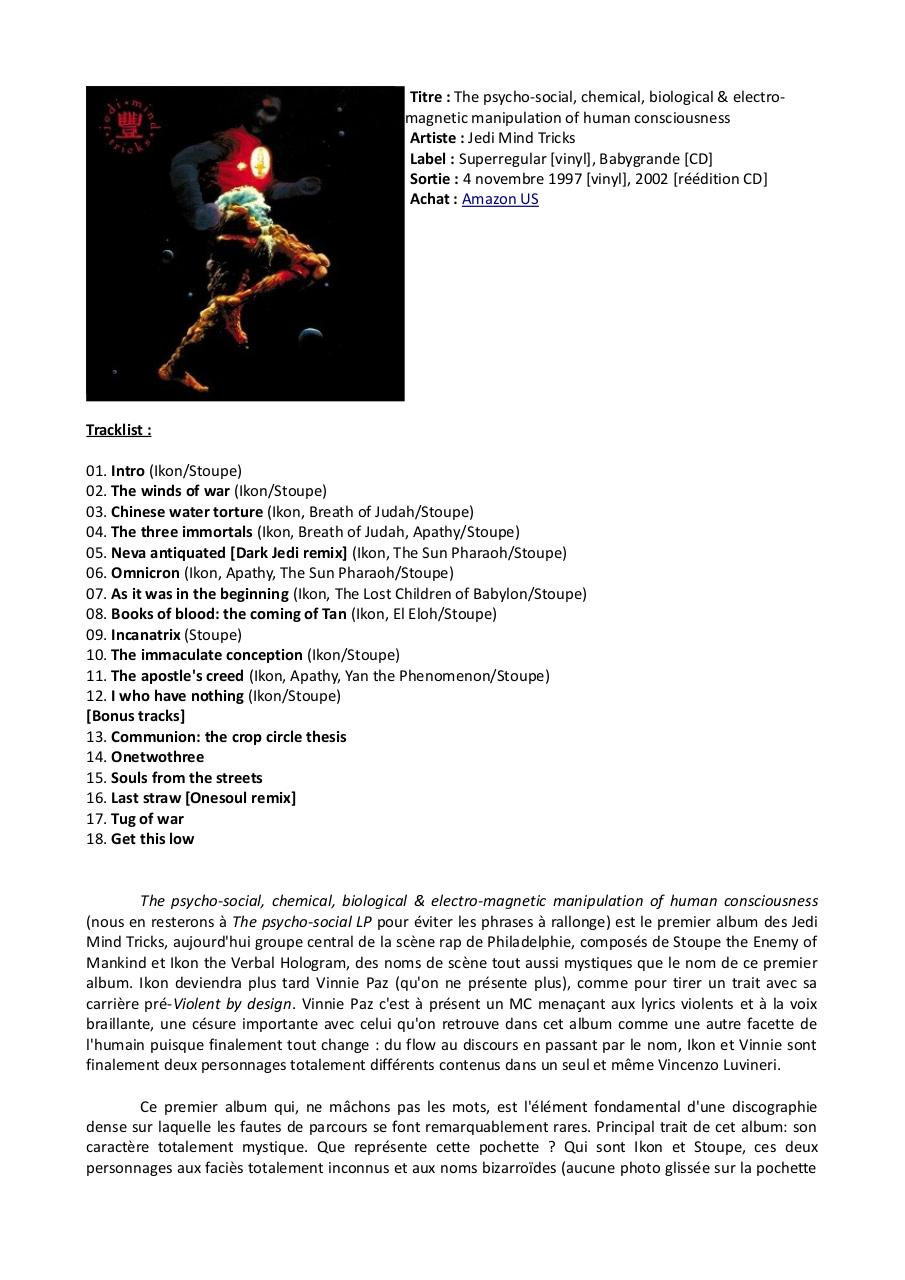 [Chronique] Jedi Mind Tricks - The Psycho-Social LP.pdf - page 1/2