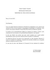 reponse a la lettre au president
