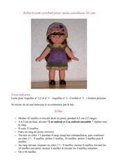 Fichier PDF tuto robe tricot crochet pour mini corolline 20 cm
