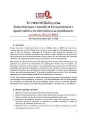 edse uniq appel a candidatures 2013 2014