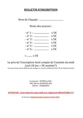 bulletin d inscription tournoi 2013
