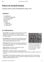 debuts du football feminin wikipedia