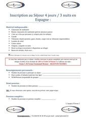 Fichier PDF inscription espagne ete