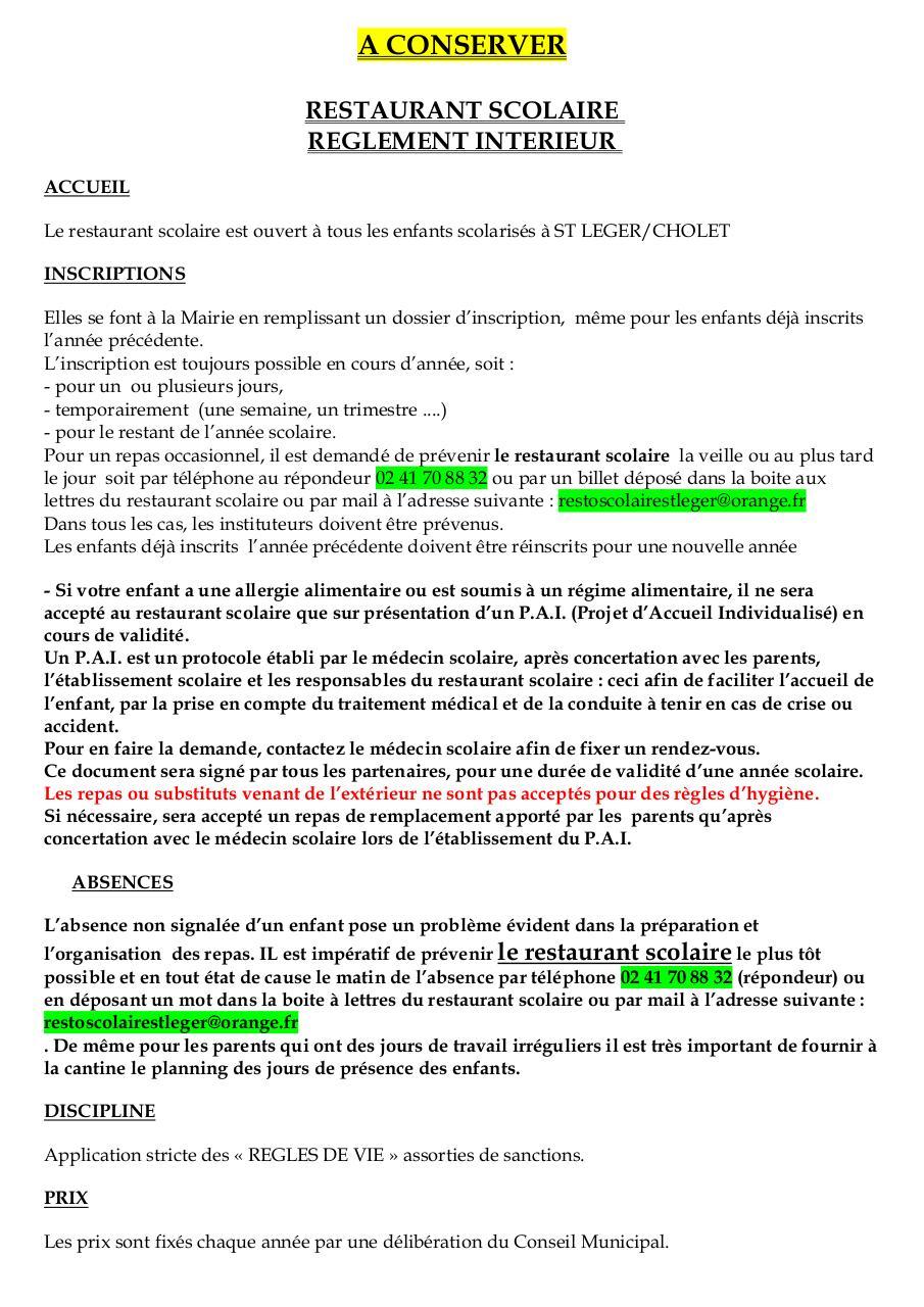 cantine scolaire 1996 1997 par mairie de st leger r 232 glement int 233 rieur pdf fichier pdf