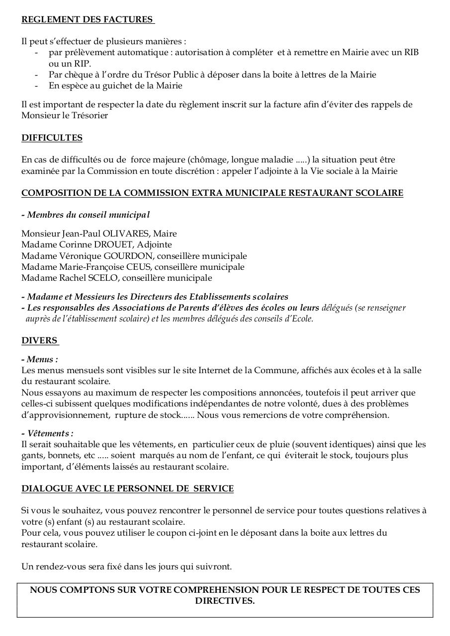 Cantine scolaire 1996 1997 par mairie de st leger for Le reglement interieur