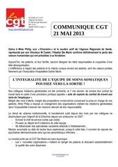 2013 05 21 communique cgt depart des generalistes