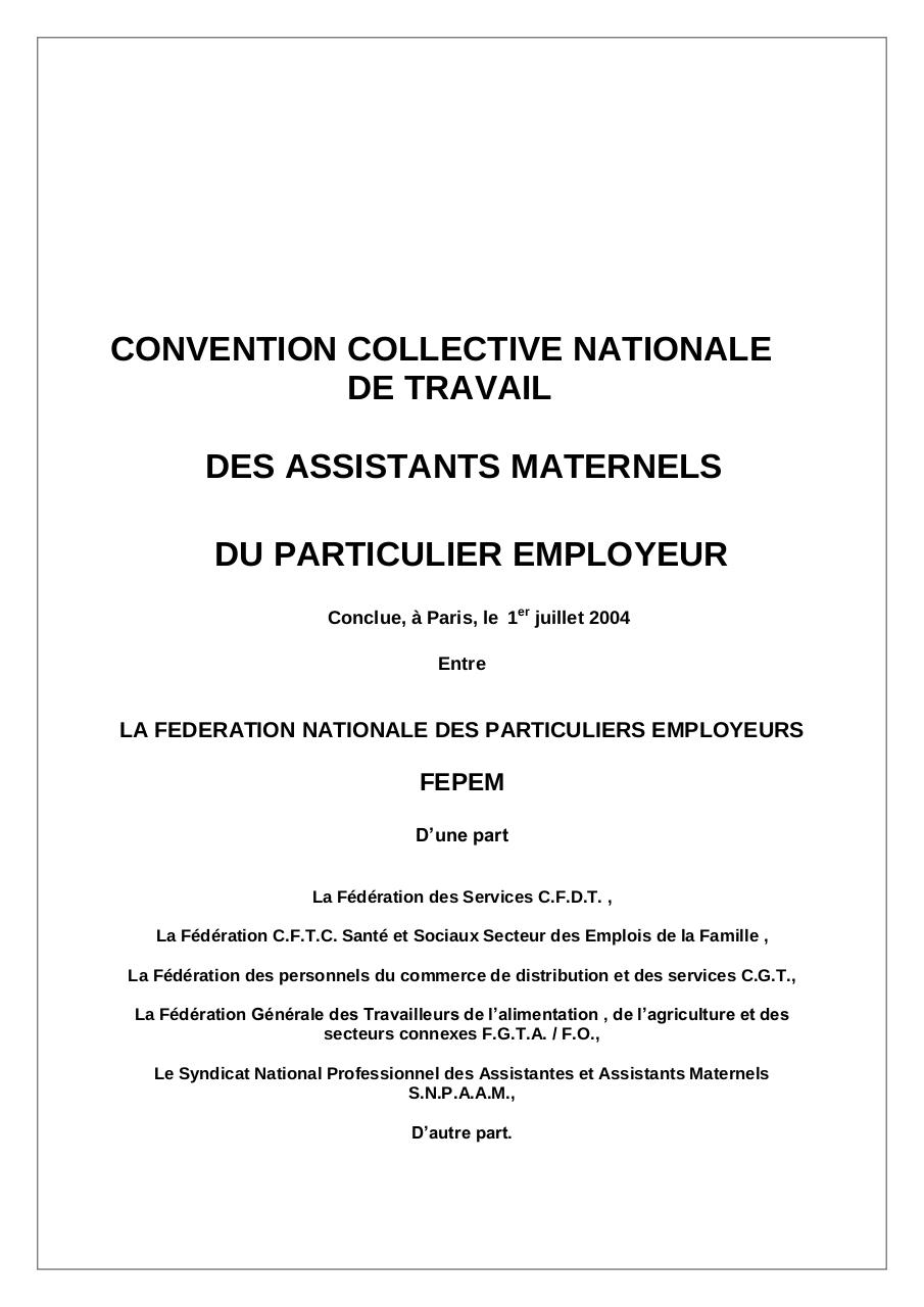 Convention collective nationale des assistants maternels