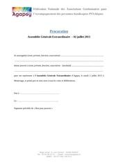 procuration de pouvoir age agapsy 2013
