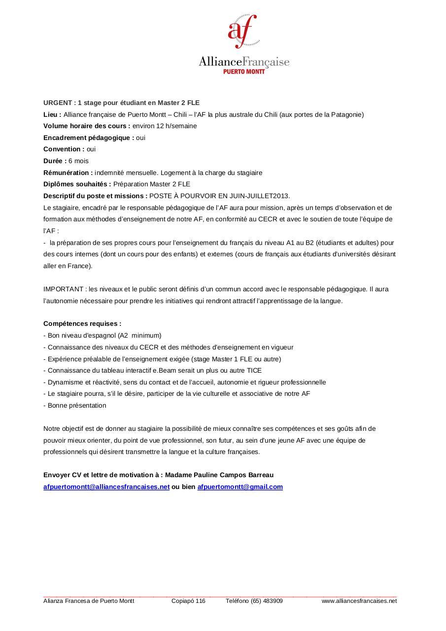 offre de stage fle master2 mai 2013