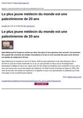 egora fr le plus jeune medecin du monde est une palestinienne de 20 ans 2013 05 24