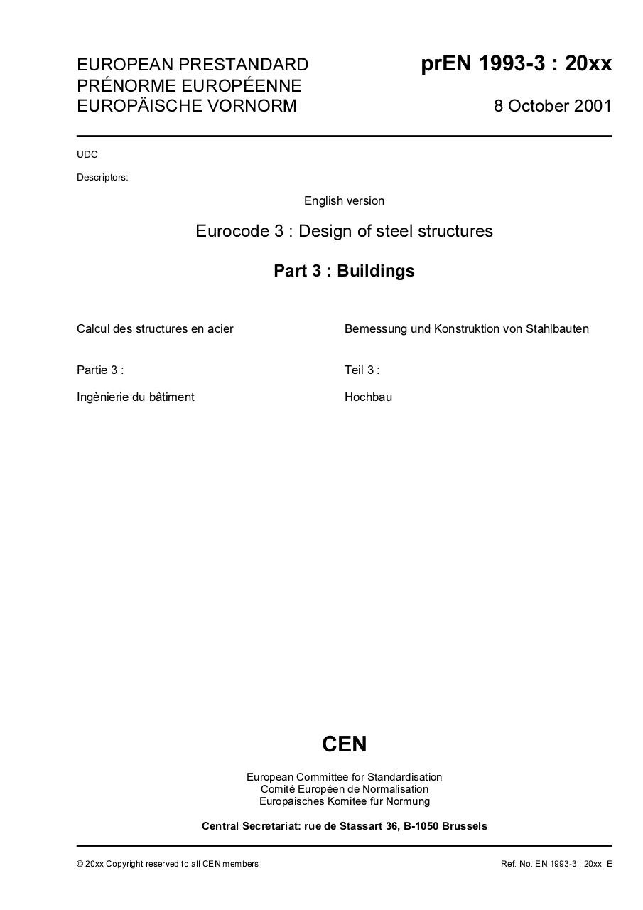 Aperçu du document Eurocode 3 Part 3 - prEN 1993-3-2001.pdf - page 1/32