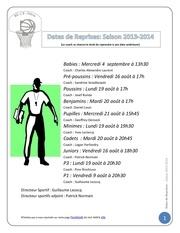 Fichier PDF dates de reprises