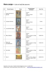 kora corps liste et tarif des oeuvres