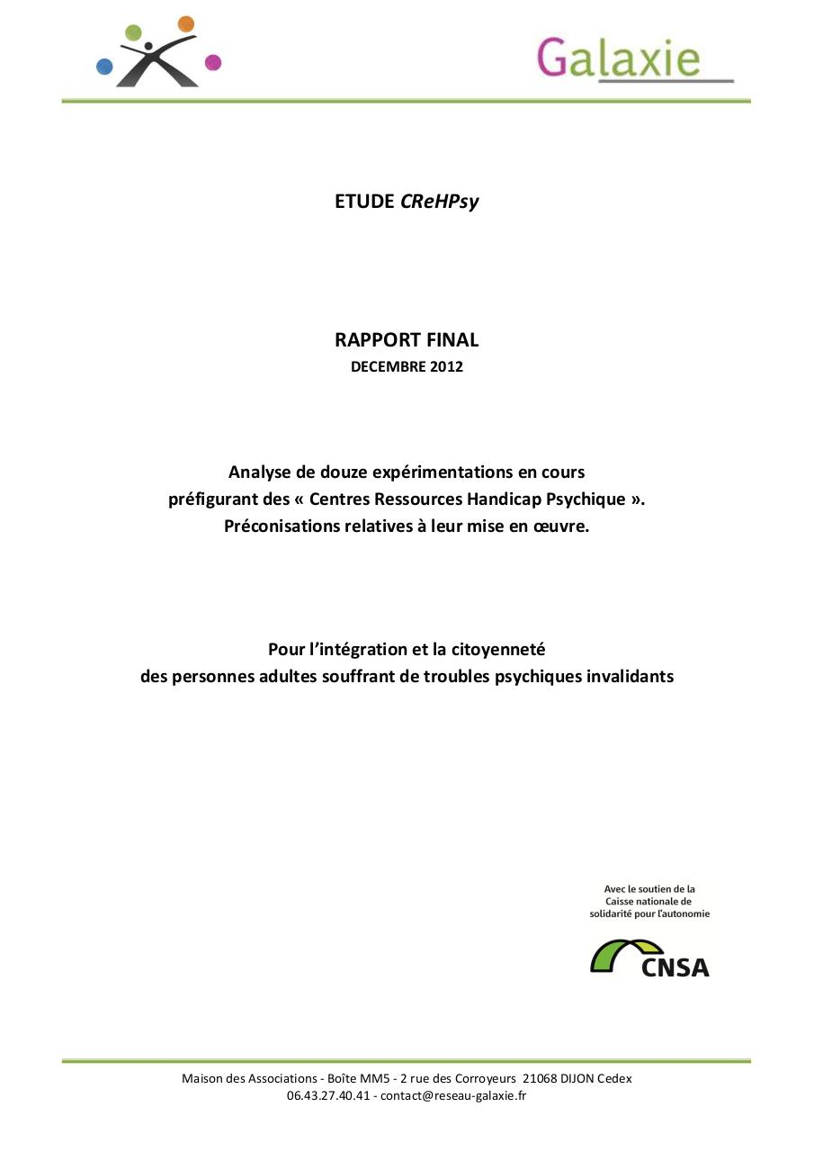 Aperçu du document Etude CReHPsy Rapport final Galaxie Décembre 2012.pdf - page 1/146