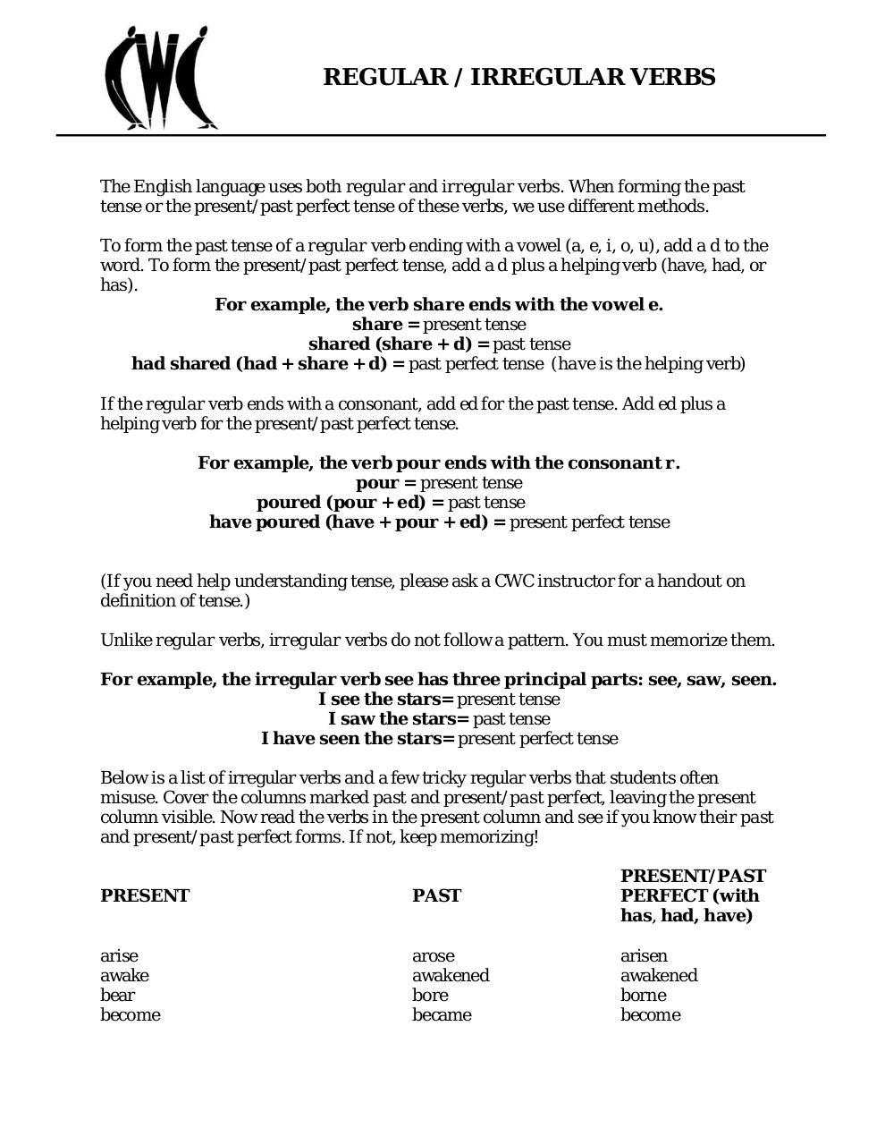 Three Forms Of Verb List Pdf