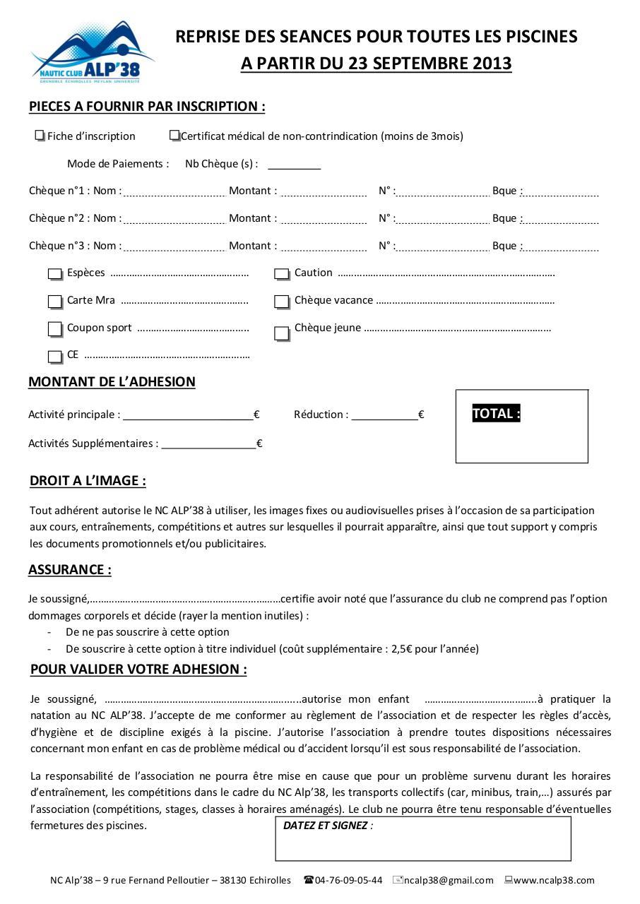 Formulaire inscription 2013 2014 par d borah fichier pdf - Formulaire de contact ...
