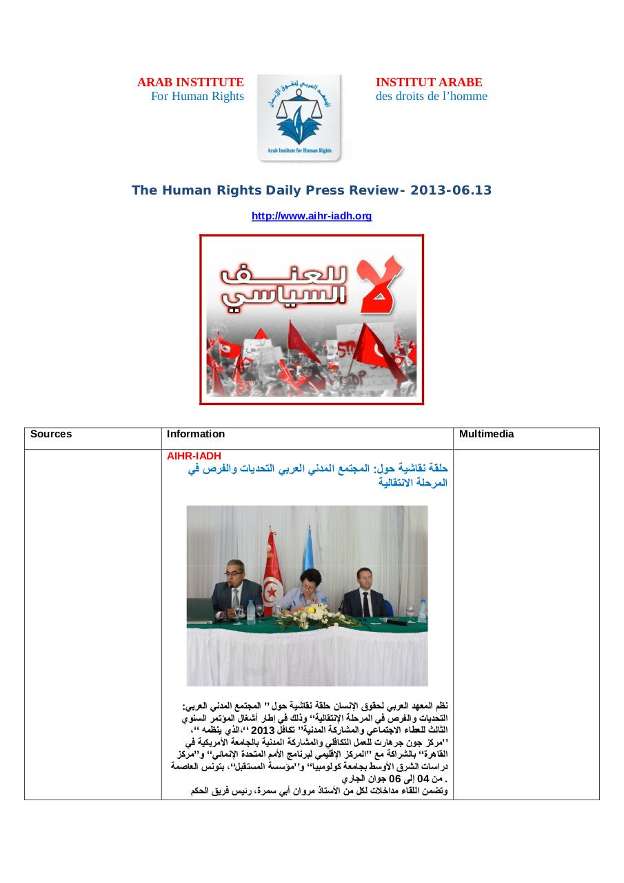 AIHR-IADH-Human rights Press Review- 2013.06.13.pdf - page 1/35