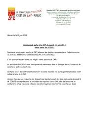 communiqu aux personnels de la cap du 11 juin 2013