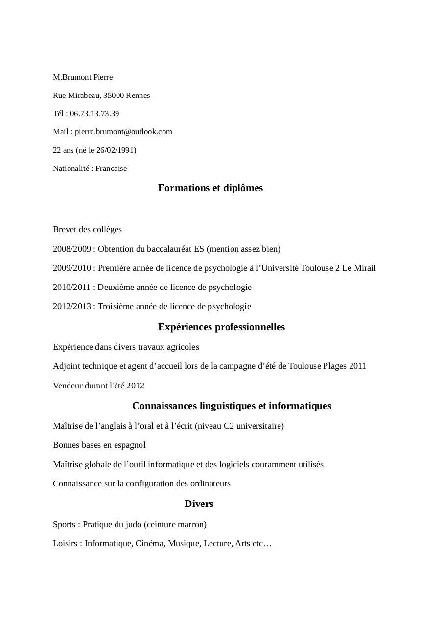 cv copy par brumont