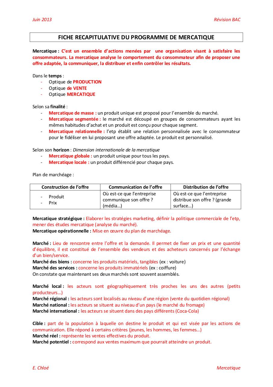 Aperçu du document FICHE RECAPITULATIVE DU PROGRAMME DE MERCATIQUE.pdf - page 1/18
