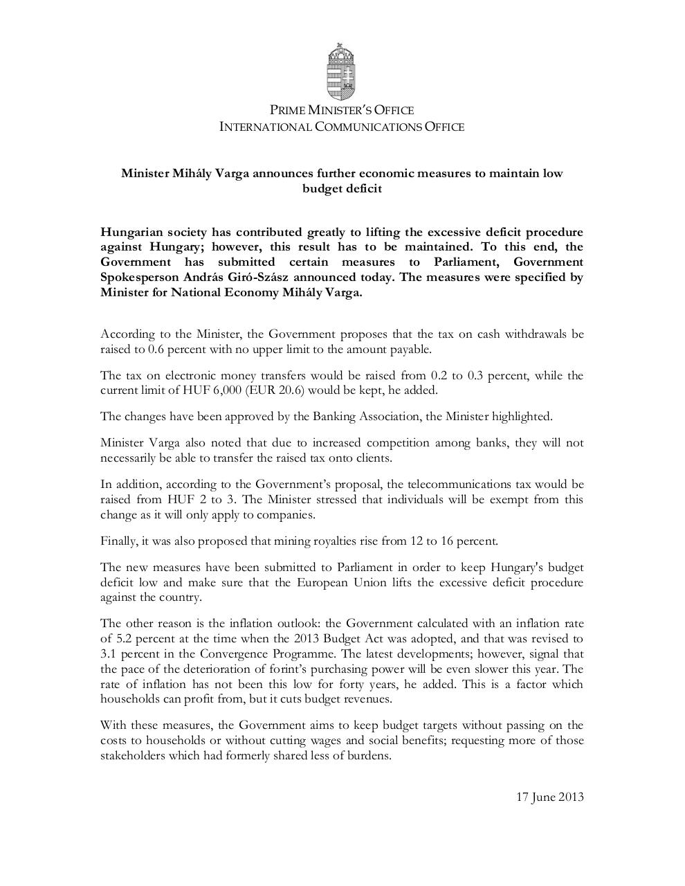 Aperçu du document 20130617 Information note_Min of Economy announces measures.pdf - page 1/1