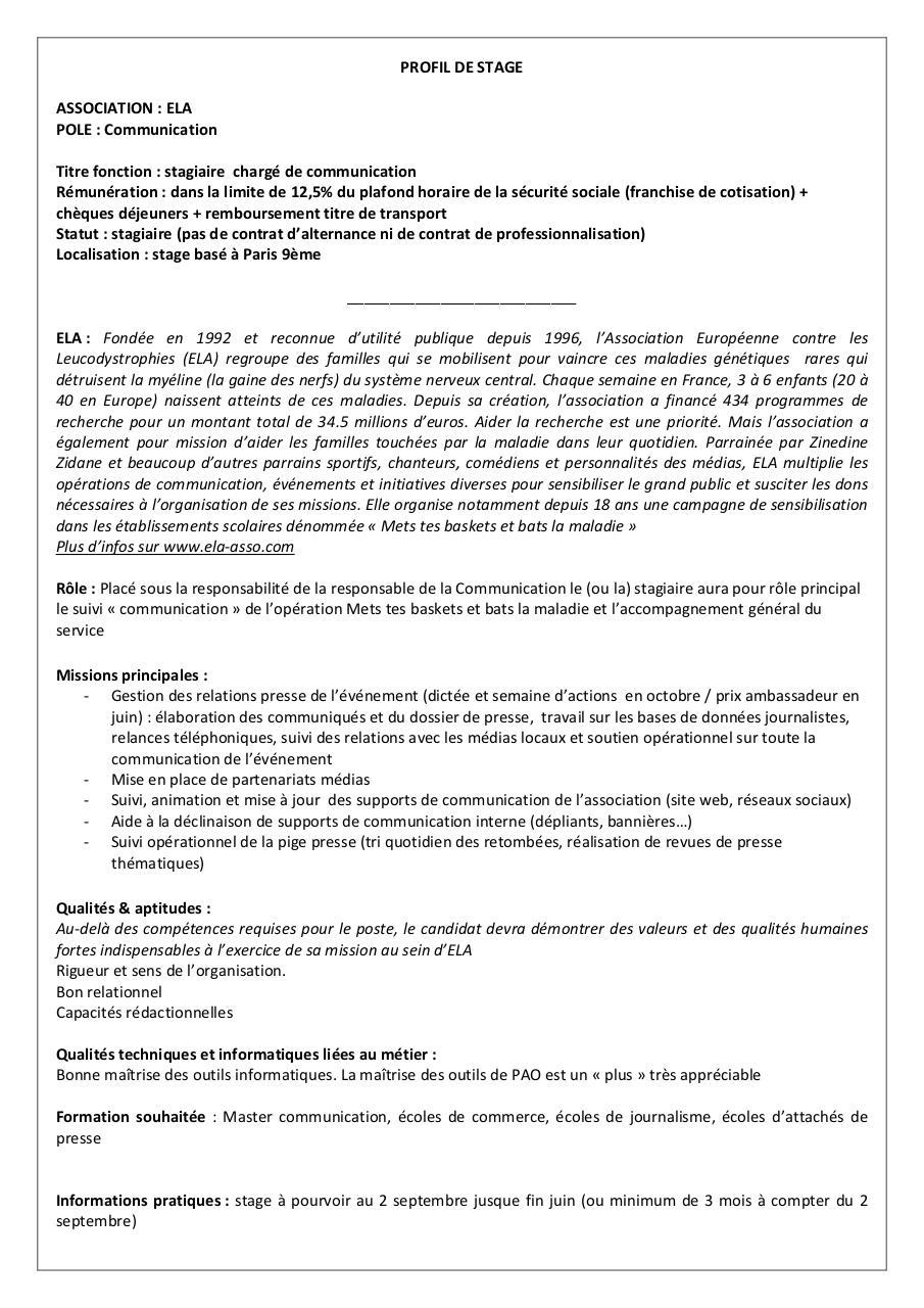 Fiche de poste stagiaire com rentrée2013.pdf par isabelle ...