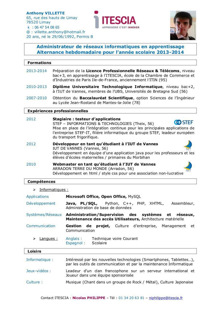 pr u00e9nom nom par c domas - itescia - cv villette anthony lp rt pdf