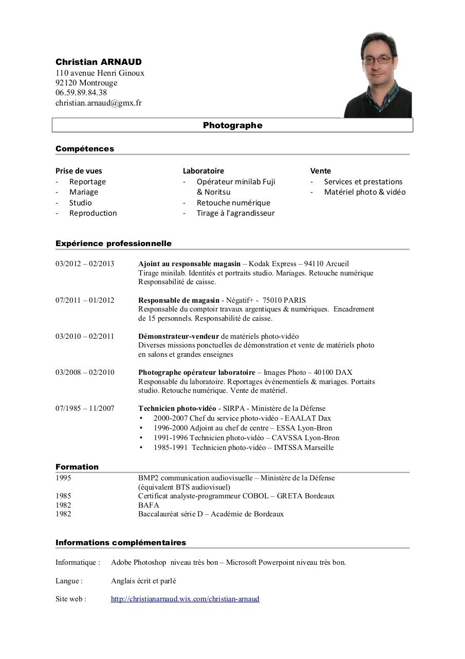 cv technicien audiovisuel